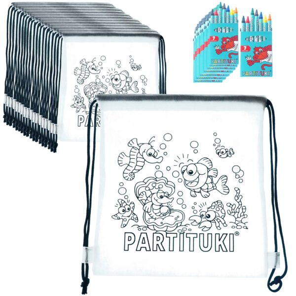 10 Coloring Backpacks with 7 Partituki Colored Waxes. Details for Children's Birthday Parties