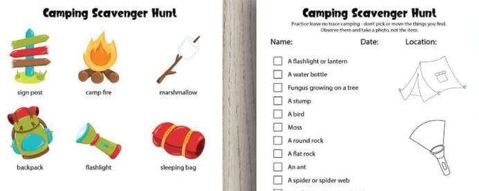 Camping Scavenger Hunt - Fun Activities with Kids