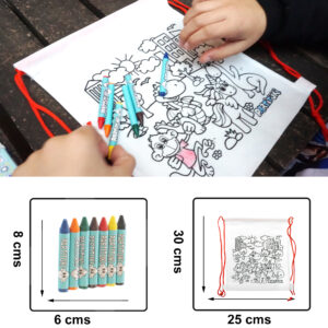 10 Coloring Backpacks with 7 Partituki Colored Waxes.